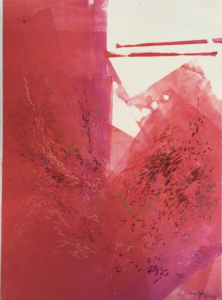 Kuva Rissasen maalaamasta taulusta, pääväri punainen